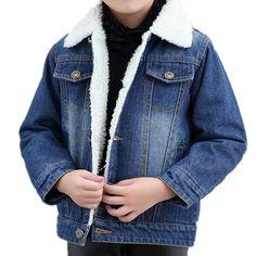 Oushiny Unisex Kids' Sherpa Lined Denim Jacket Warm Outerwear 2 Colors For - best woman's fashion products designed to provide Sherpa Lined Denim Jacket, Toddler Boys, Kids, Basic Style, Jackets For Women, Coats, Warm, Tea, Unisex