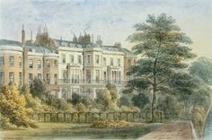 East front of Sir Robert Peel's House in Privy Garden (1788-1850) 1851 (w/c on paper) Wall Art & Canvas Prints by Thomas Hosmer Shepherd