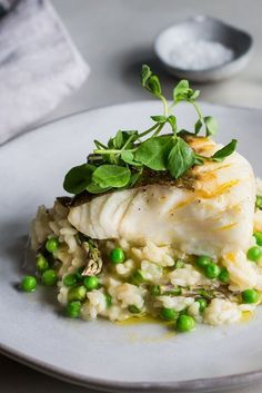 Cod And Asparagus Risotto Recipe.Lamb Loin Recipe With Parmesan Risotto Great British Chefs. Fish Dishes, Seafood Dishes, Seafood Recipes, Vegetarian Recipes, Healthy Recipes, Simple Recipes, Fresh Fish Recipes, Main Dishes, Cod Recipes