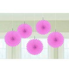 Závesná dekorácia 3D vejárové kvety ružové - 15,2 cm, 5 ks/bal: Party Webshop špecialista na party doplnky