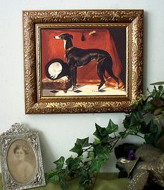 Greyhound top hat dog print antique #vintage #style #framed horse,  View more on the LINK: 	http://www.zeppy.io/product/gb/2/371467051053/