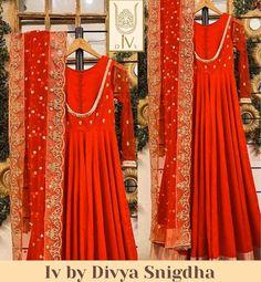 Indian Engagement Outfit, Engagement Dresses, Wedding Engagement, Wedding Fun, Red Wedding, Bridal Anarkali Suits, Anarkali Gown, Punjabi Wedding Suit, Punjabi Suits