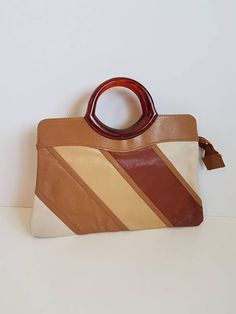 3e4f1cdee5 Vintage Handbag/Purse, Beige, Tan and Brown Vinyl with Root beer Swirl  Plastic Handles, Cabrelli Made in Canada