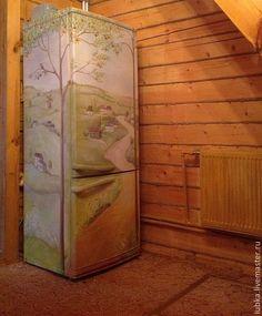 Refrigerator custom painted with a nice green landscape. #funkitchendecor #uniquekitchendecor