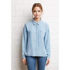 Forever 21 Boxy Collared Chambray Shirt ($25) ❤ liked on Polyvore featuring tops, forever 21, woven shirt, collared shirt, women tops and sleeve shirt