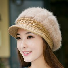 hat accessories Picture - More Detailed Picture about Womens Felt Hat  Rabbit Fur Fleece Hats Lady Wool Knit Cap with Visor Flap Caps Winter Red  Beret Women ... b94405f1bab