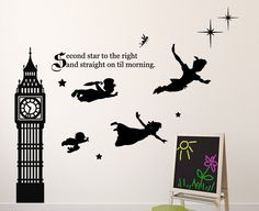 Disney Peter Pan Wall Decal Tinkerbell, Wendy, John, and Michael Flying to Neverland Second Star To The Right Vinyl Sticker by CustomVinylDecorShop on Etsy https://www.etsy.com/listing/262199192/disney-peter-pan-wall-decal-tinkerbell