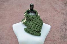 Infinity Scarf Crochet Hunter Green Khaki by BellaHenryBoutique