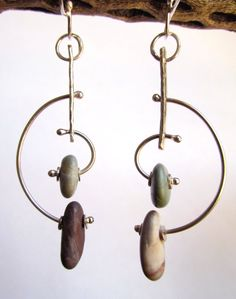 Earrings  Sterling Silver  Modernist Style Hoop by rmddesigns, $37.00