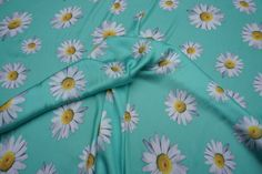 C6911 Mint green silky satin fabric summer white large sunflowers print evening party dress wear bridal satins fabrics -  by the metre