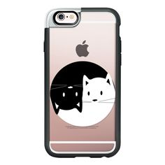 Yin Yang cats - black and white transparent cat lover case - iPhone 6s... (€43) ❤ liked on Polyvore featuring accessories, tech accessories, phone, iphone case, cat iphone case, iphone cover case, clear iphone cases, apple iphone cases and iphone hard cas