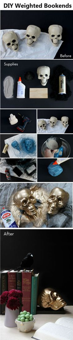 DIY Skull Weighted Bookends | http://www.diyideaz.com/diy-skull-weighted-bookends/