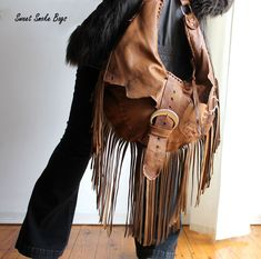 Rusted brown leather hobo oversized raw edge bag by SweetSmokebags