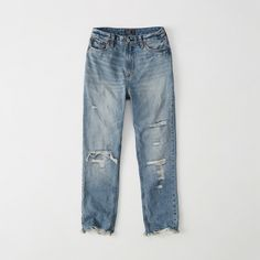 Abercrombie & Fitch High-Rise Girlfriend Jeans ($44) ❤ liked on Polyvore featuring jeans, ripped medium wash, high rise ripped jeans, high rise cropped jeans, high-waisted jeans, high waisted cropped jeans and vintage high waisted jeans