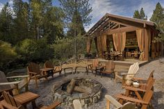 woodsy outdoor pavillion and firepit