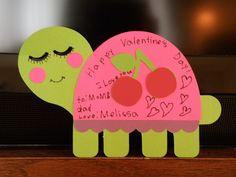 Turtle valentines made with Cricuit
