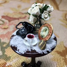 Table Stand Dressed with Floral Arrangement & Telephone 1:12 Dollhouse Miniature