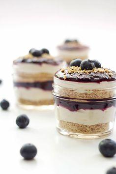 Blueberry Cheesecake Parfaits | Recipe Runner | These delicious easy to make blueberry cheesecake parfaits are made lighter with Greek yogurt!