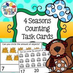 4 Seasons Counting Task Cards  This download contains 2 different types of task cards; put a peg on the correct number or circle the correct number related to all four seasons - Summer, Spring, Autumn/Fall and Winter  22 different task cards in total rang