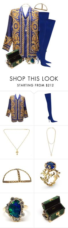 """Versace on the floor"" by santospretty ❤ liked on Polyvore featuring Versace, Balenciaga, Chrome Hearts, Givenchy, Coral Blue, Kimberly McDonald and Prada"