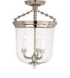 Visual Comfort Thomas OBrien Merchant Semi-Flush Light in Polished Nickel TOB4212PN
