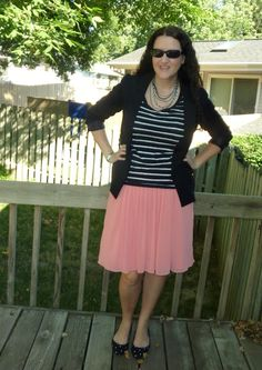 Just Another Smith: striped tee, black blazer, polka dot flats, pink pleated skirt