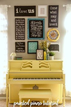 How to paint your piano - it's easier than you think! Love this pop of yellow!