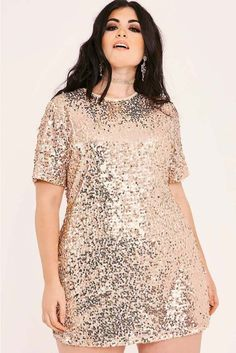 481e45fa51 Curve madeline rose gold sequin t shirt dress