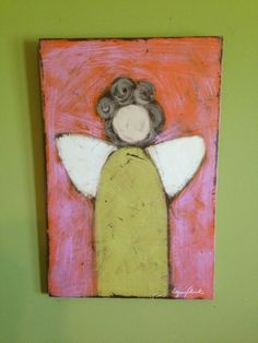 primitive, distressed folk art painting of angel with green dress.