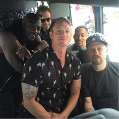 Suicide Squad: Joel Kinnaman, David Ayer, Will Smith, Adewale Akinnuoye-Agbaje, and Jai Courtney at San Diego Comic Con 2016 (photo via Suicide Squad Instagram)