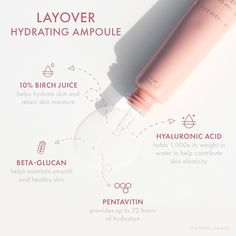 Give skin a dose of hydration with our Layover Hydrating Ampoule. Formulated with a trifecta of hyaluronic acid, pentavitin, and birch juice to keep your skin quenched. Web Design, Layout Design, Email Marketing Design, Cosmetic Design, Ads Creative, Brochure Layout, Graphic Design Posters, Web Banner, Advertising Design