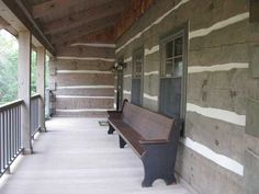 Restored church pew for porch seating. Cabin Porches, Home Porch, Decks And Porches, Country Porches, Church Pew Bench, Church Pews, Front Verandah, Front Porch, Cabins And Cottages