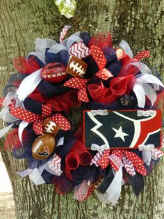 Houston Texans NFL Mesh Wreath by SeraphicalDesigns on Etsy