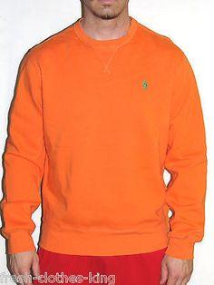 RALPH LAUREN POLO Sweater New Mens Orange Crewneck Choose Size