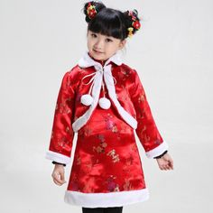 Girl's Traditional Red Brocade Floral Wadded Qipao with Bolero - iDreamMart.com