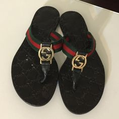 Gucci Signature Flip Flops / Sandals- Gorgeous used Gucci Sandals- Do show signs of wear. Well used and loved, but still have years of life left. Construction wise no issues. Just minor fading at big toe area - which isn't seen while wearing .Paid 400 with tax. Firm on price. Gucci Shoes Sandals