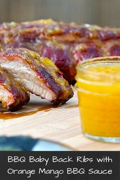 BBQ Baby Back Ribs with Homemade Orange Mango BBQ Sauce. A non-traditional homemade BBQ sauce that is quick and easy to make and tastes great! Bbq Baby Back Ribs, I Grill, Smoking Recipes, Homemade Bbq, Bbq Ribs, Barbecue Sauce, Outdoor Cooking