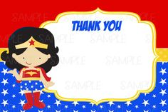 Instant Dowload Printable Wonder Woman Thank by Wonder Woman Birthday, Wonder Woman Party, Wonder Woman Logo, Name Cards, Thank You Cards, Hero Of The Day, Free Printable Birthday Cards, Unisex Baby Shower, Super Party