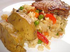 Nem vagyok mesterszakács: Almás-fokhagymás egészben sült kacsa - kacsalakoma kacsaaprólékos paellával, egészben sült májával Paella, Grains, Rice, Cook Books, Chicken, Cooking, Recipes, Food, Kitchen