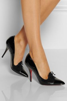 Christian Louboutin | Queue De Pie 100 patent-leather pumps | NET-A-PORTER.COM