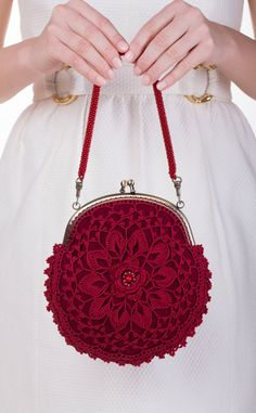 Red purse bridesmaids purse lace purse by WillowFairyJewelry