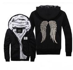 THE WALKING DEAD black hoodie daryl dixon angel wings fleece hoody for winter