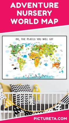 Create adventure nursery for your baby with Pictureta's world map. I wish I had this map when growing up. It is full of adorable animals and famous landmarks and looks awesome in my baby's nursery. Get yours at PICTURETA. Baby Boy Nursery Themes, Baby Boy Nurseries, Playroom Wall Decor, Nursery Decor, Map Nursery, Ocean Nursery, Safari Nursery, Nursery Room, Travel Theme Nursery