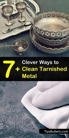Learn how to remove tarnishing from metal surfaces using ingredients at home. Clean silver with warm water, aluminum foil, and baking soda, and remove tarnish and grime from metal with toothpaste, lemon juice, and a toothbrush. #cleaningtarnishedmetal #tarnished #metal #cleaner #metaltarnish House Cleaning Tips, Cleaning Hacks, Cleaning Supplies, Tarnish Remover, Laundry Hacks, Household Cleaners, Carpet Cleaners, Clean House, Helpful Hints