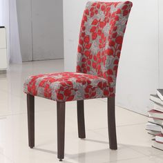 Add some wild flair to your decor with these Elegant Red Floral Parson Chairs. These furniture chairs are not only fashionable but offer a contoured back and a comfortable seating cushion.