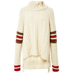 Preen by Thornton Bregazzi Harley Jumper ($915) ❤ liked on Polyvore featuring tops, sweaters, wool sweater, long sleeve sweaters, wool cable knit sweater, white wool sweater and cable sweater