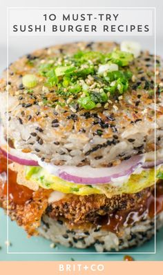 10 Sushi Burgers That Are a Foodies Dream Come True via Brit Co Sushi Burger, Sushi Taco, Sushi Sandwich, Sushi Sushi, Sushi Rolls, Sushi Recipes, Burger Recipes, Asian Recipes, Cooking Recipes