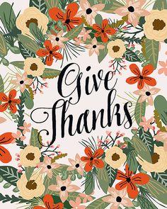 Give Thanks Printable wall art decor Print nursery by OhMammaMia