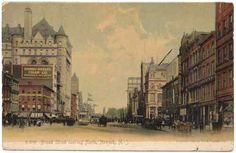 1905 Vintage DB Postcard Downtown Newark NJ People, Streetcar, Horse & Buggy