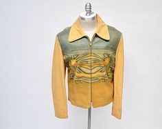 vintage leather jacket 1970s HIPPIE CUSTOM made painted airbrushed hide out